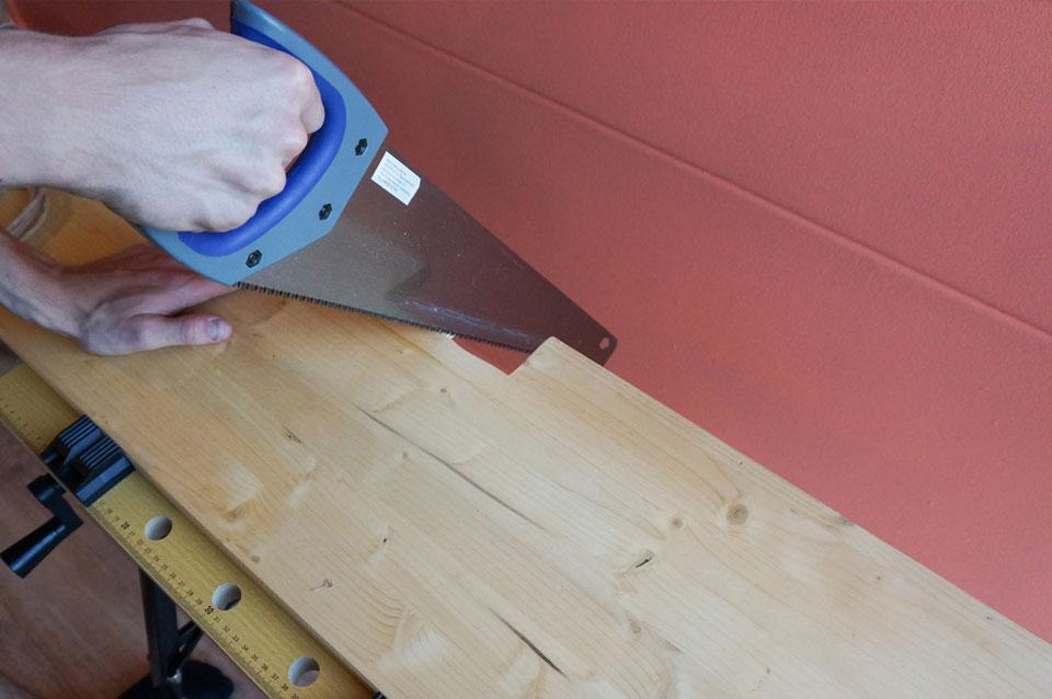 DIY vensterbank plank zagen