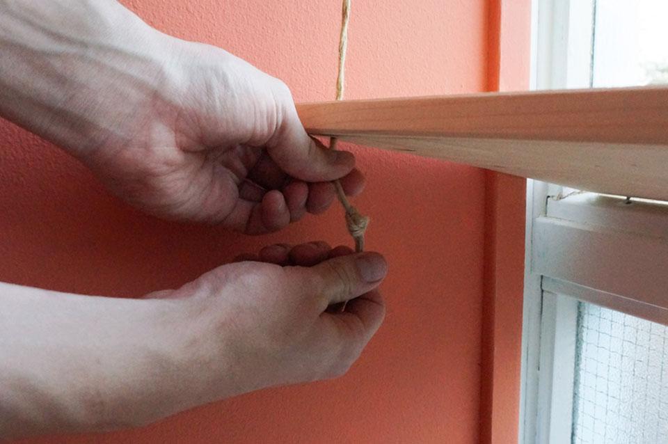 DIY vensterbank touw knopen
